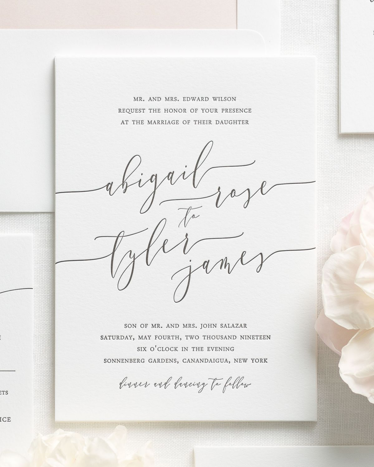Romantic Wedding Invitation Wording: Romantic Calligraphy Letterpress Wedding Invitations