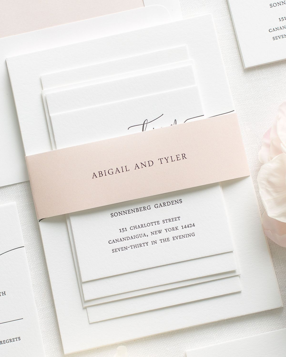 Modern Calligraphy Letterpress Wedding Invitations