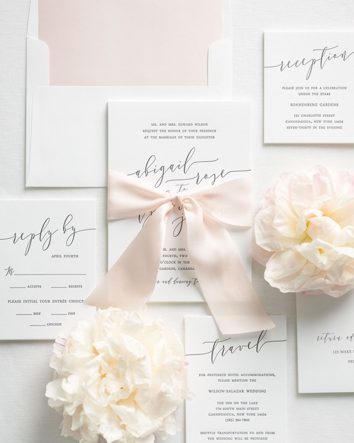 Letterpress Wedding Invitations with Envelope Liners and Silk Ribbon