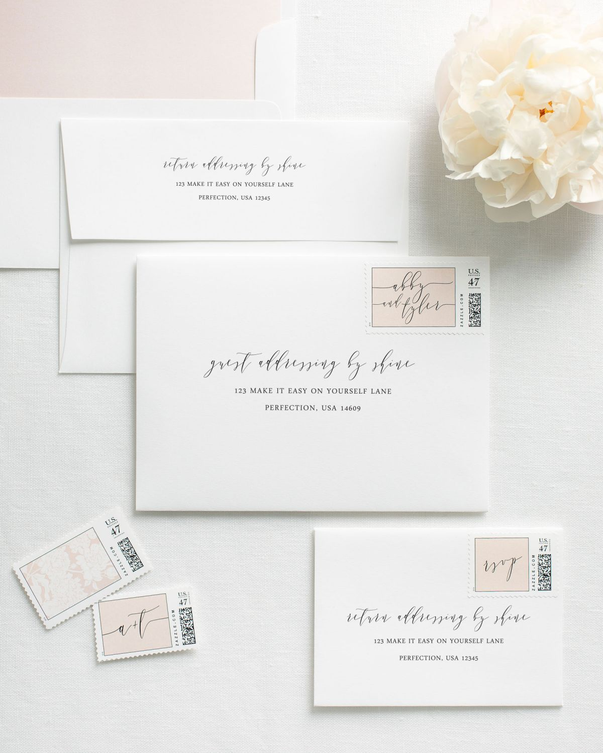 Calligraphy Guest Addressing Envelopes with Custom Stamps