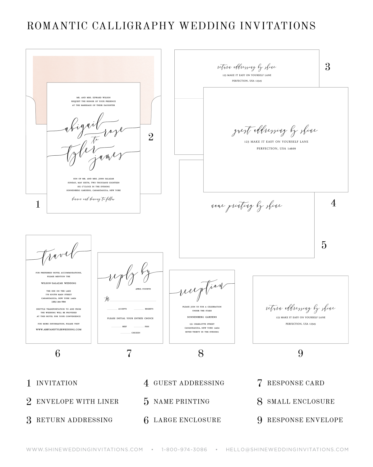 Letterpress Wedding Invitation Components Chart