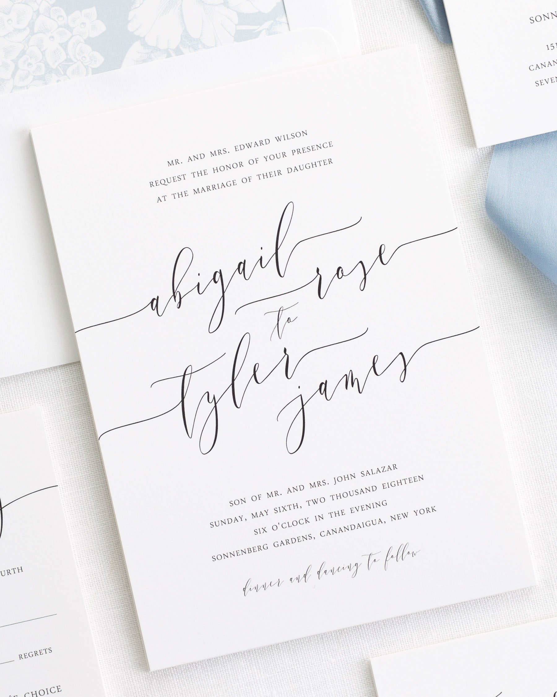 Romantic calligraphy ribbon wedding invitations