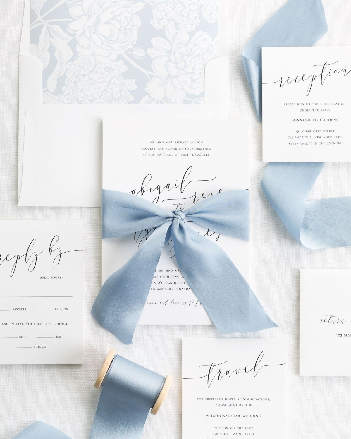 Modern Calligraphy Silk Ribbon Wedding Invitations in dusty blue