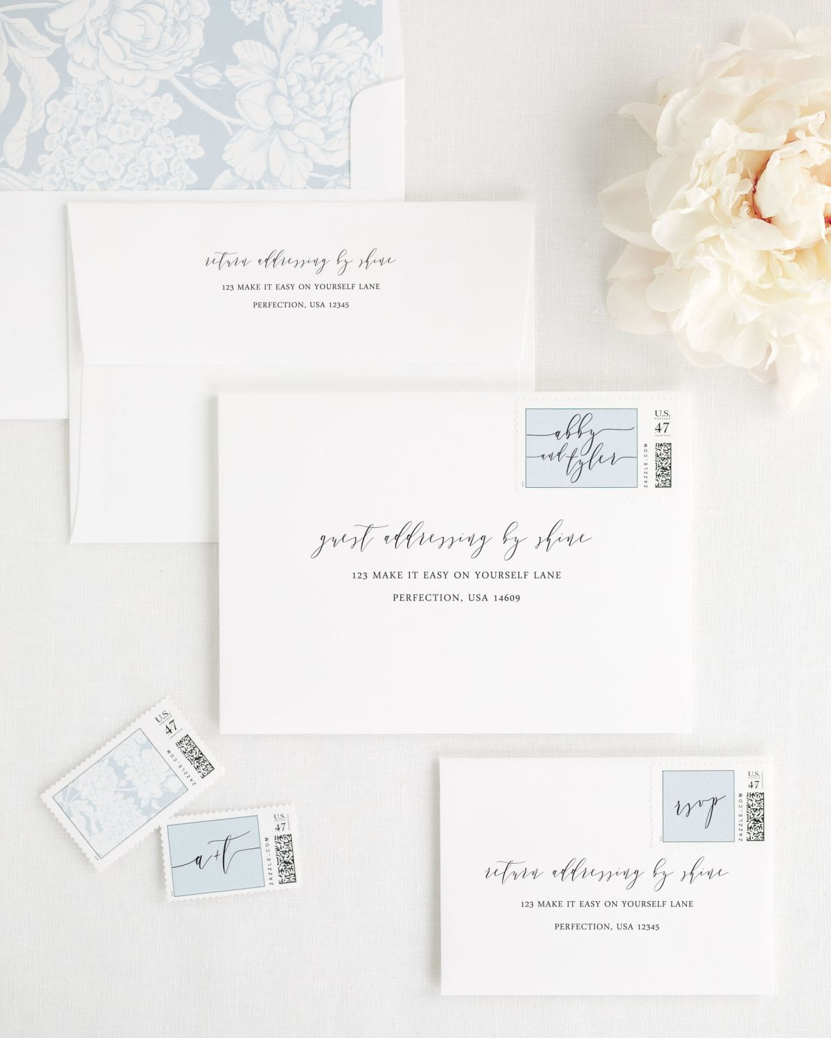 Wedding Invitation Envelopes with Guest Addressing and Matching Blue Stamps