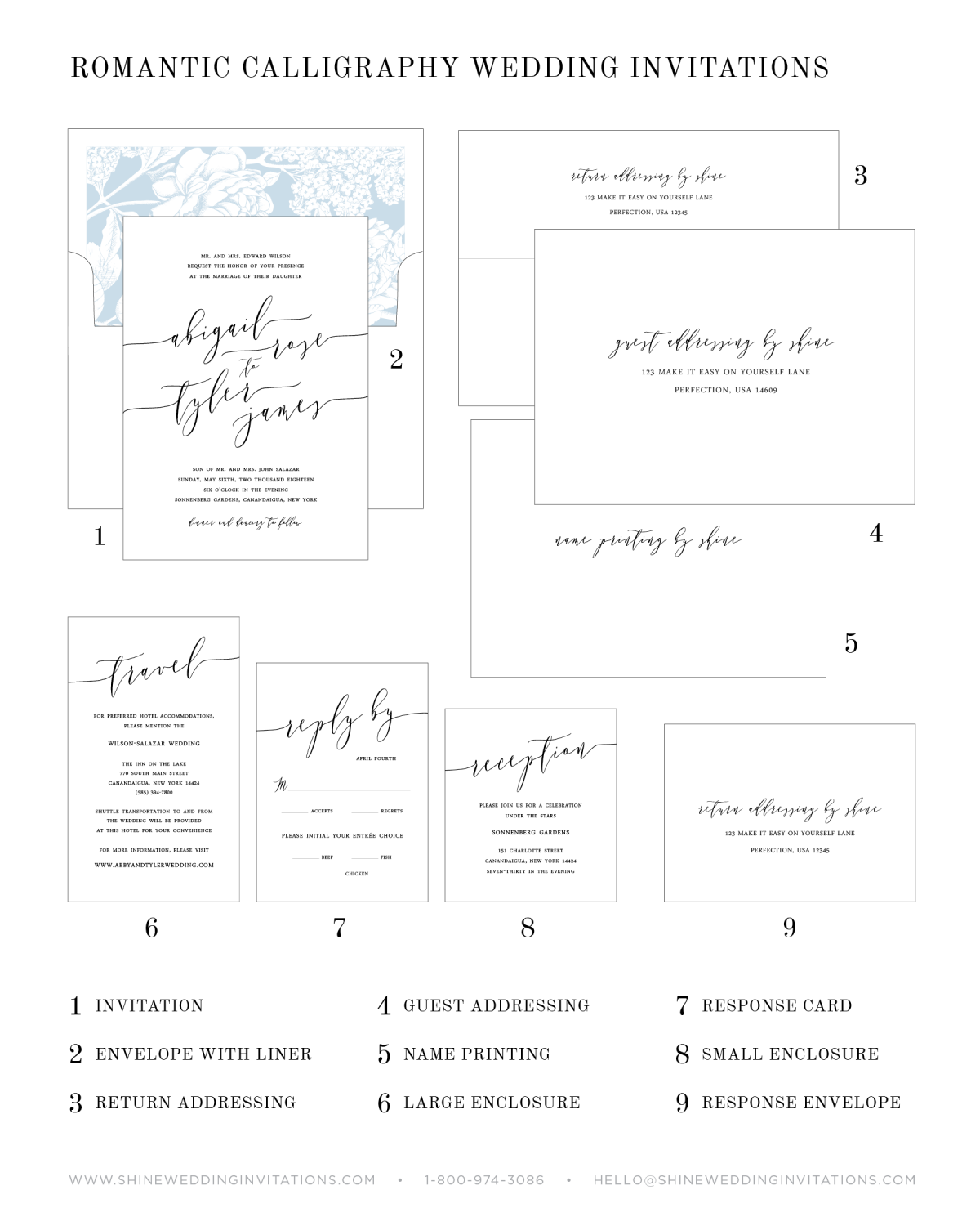 Wedding Invitation Chart and Pieces Diagram