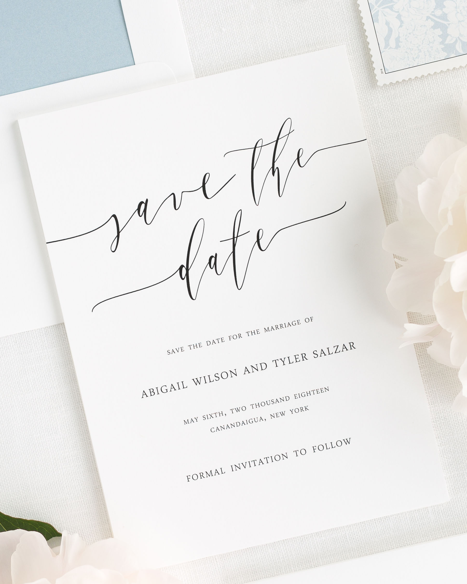 Romantic calligraphy save the date cards save the date for Save the date wedding