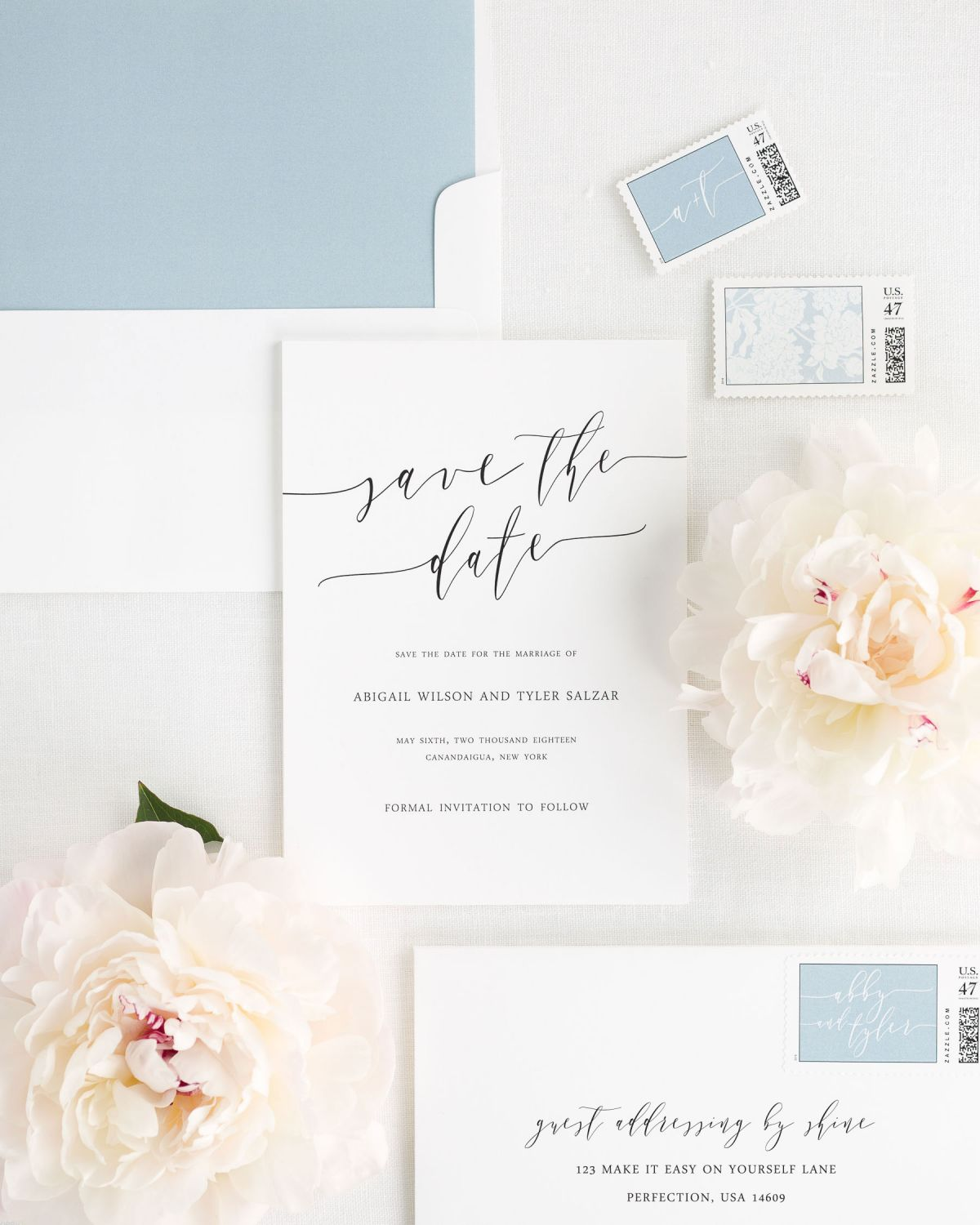romantic save the dates with matching stamps