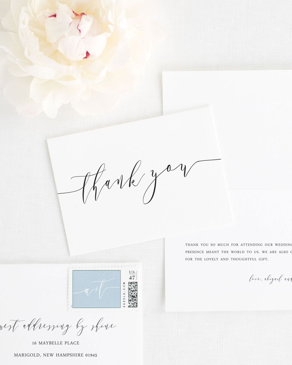 Romantic Calligraphy Thank You Cards Thank You Cards By