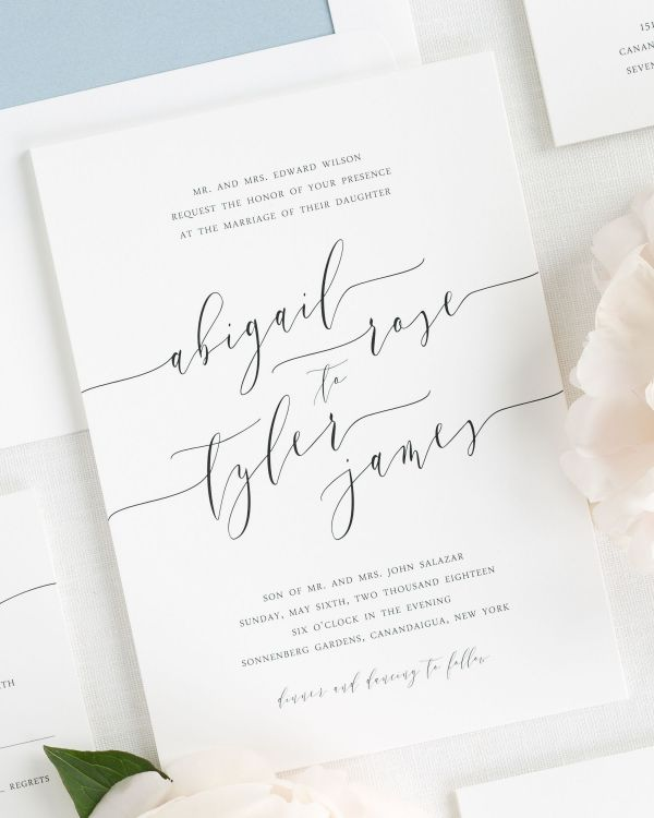 dreamy and darling wedding invitation with modern calligraphy