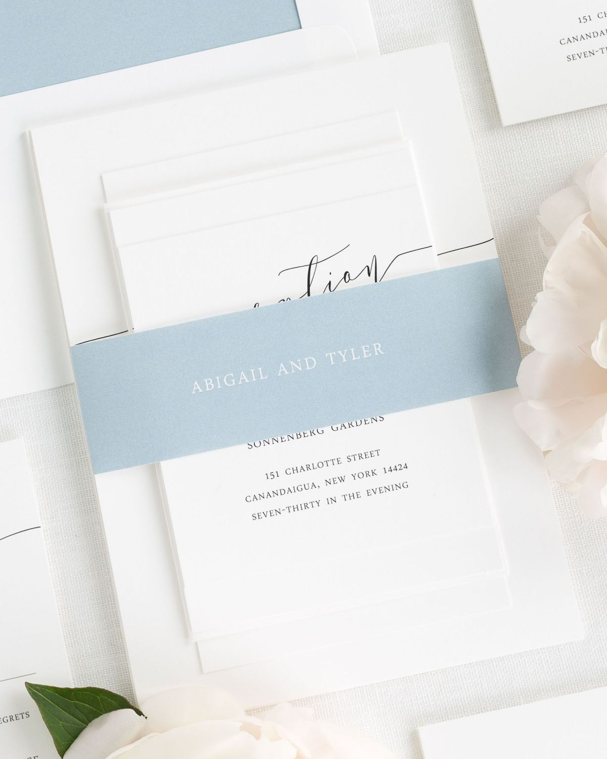 Dusty Blue Wedding Invitations with Belly Band and Solid Envelope Liner