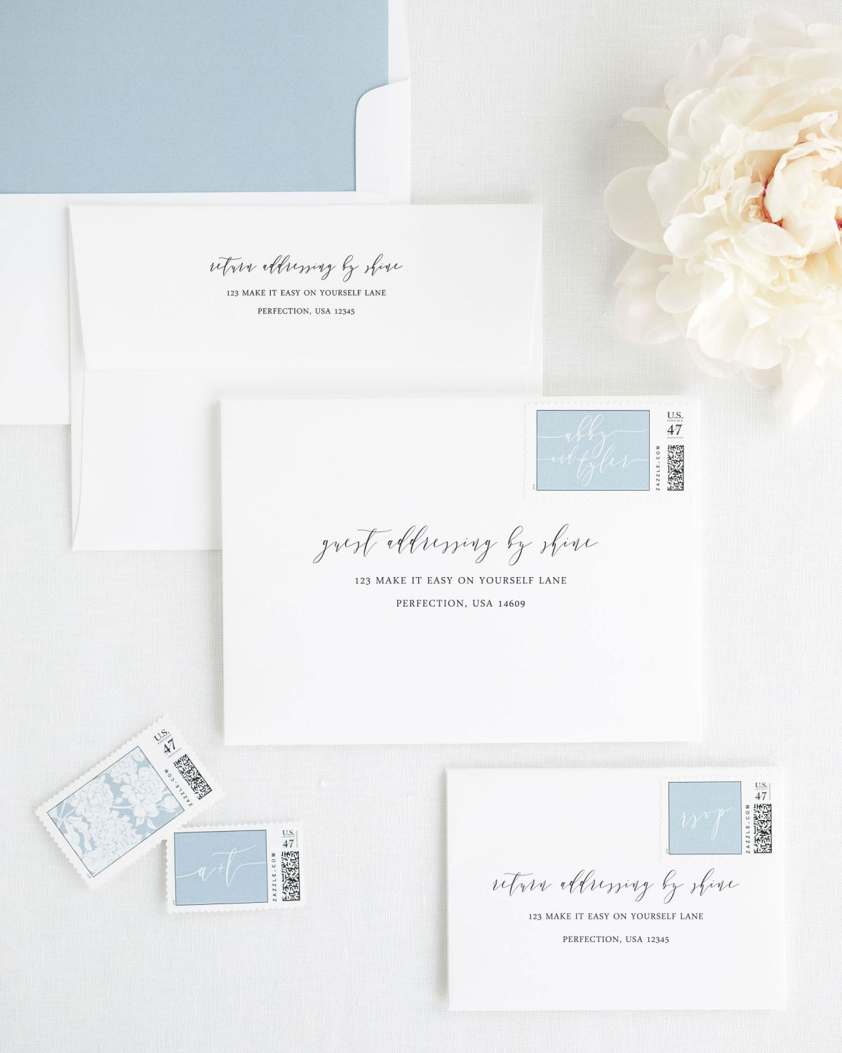 Wedding Invitation Envelopes with Dusty Blue Custom Postage and Solid Liner