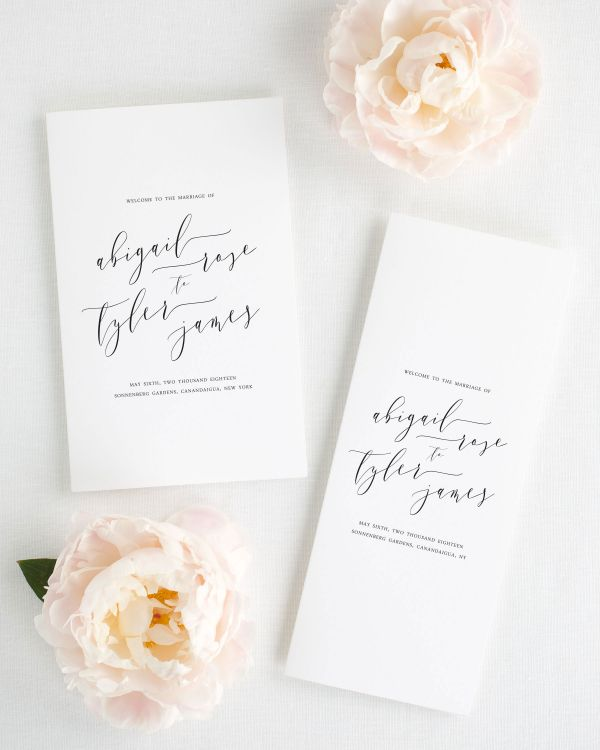 Romantic Calligraphy Booklet Wedding Programs