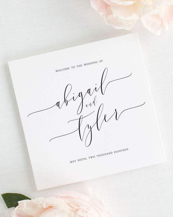 Romantic Calligraphy Wedding Programs
