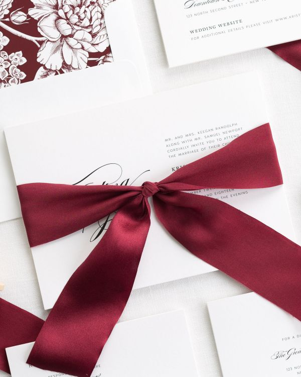 Romantic Glamour Ribbon Wedding Invitations