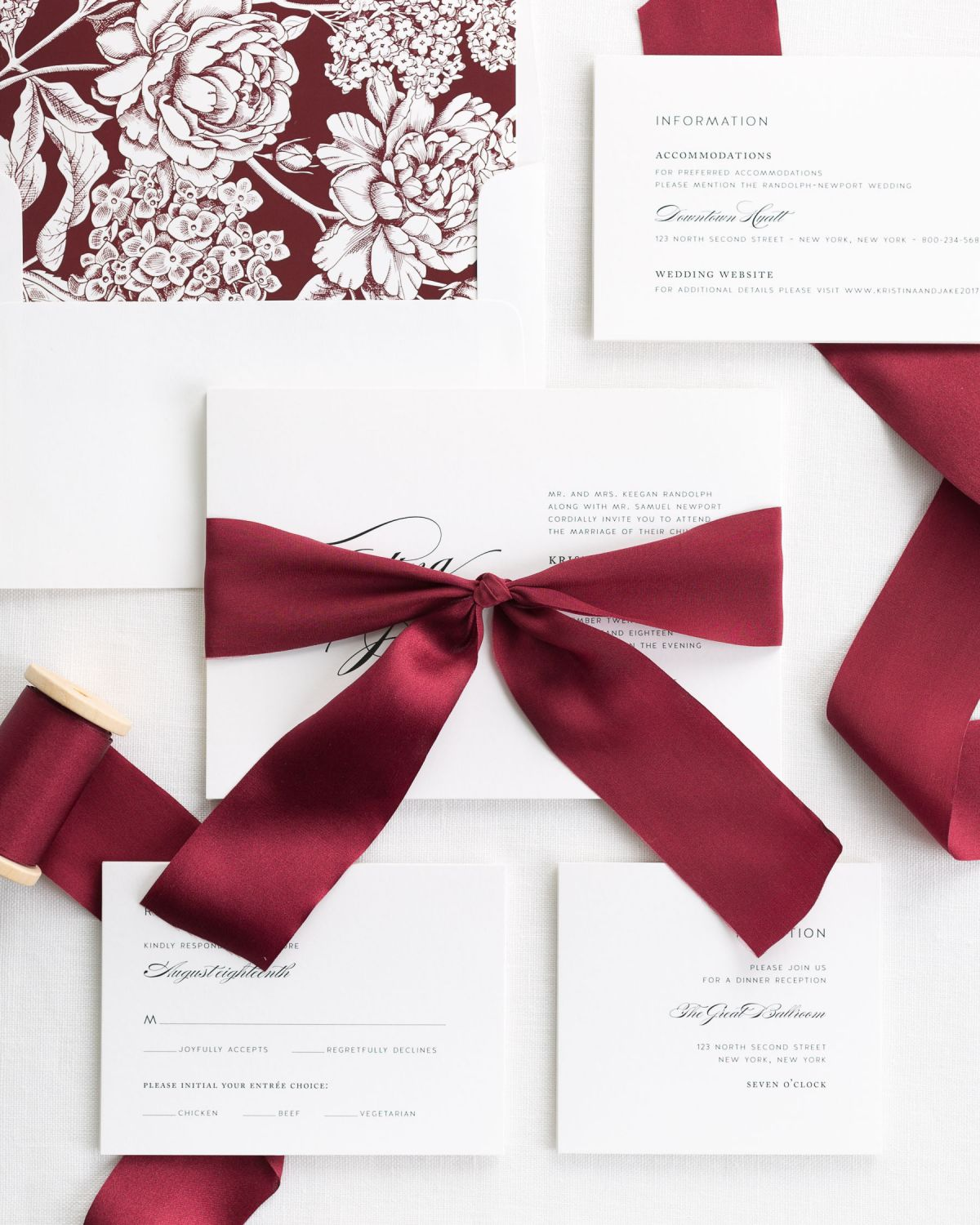 Complete Wedding Invitations with Wine Ribbon and Enclosures