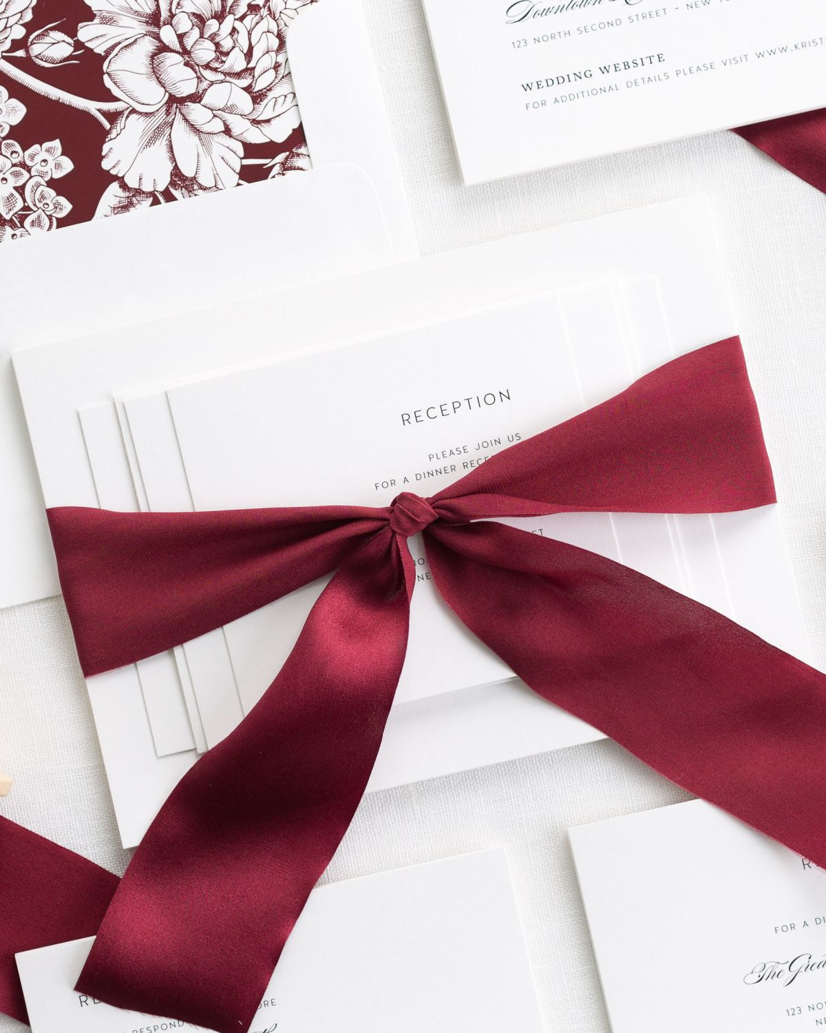 Cabernet Wedding Invitations with Silk Ribbon