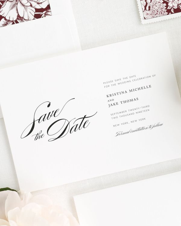 Romantic Glamour Save the Date Cards