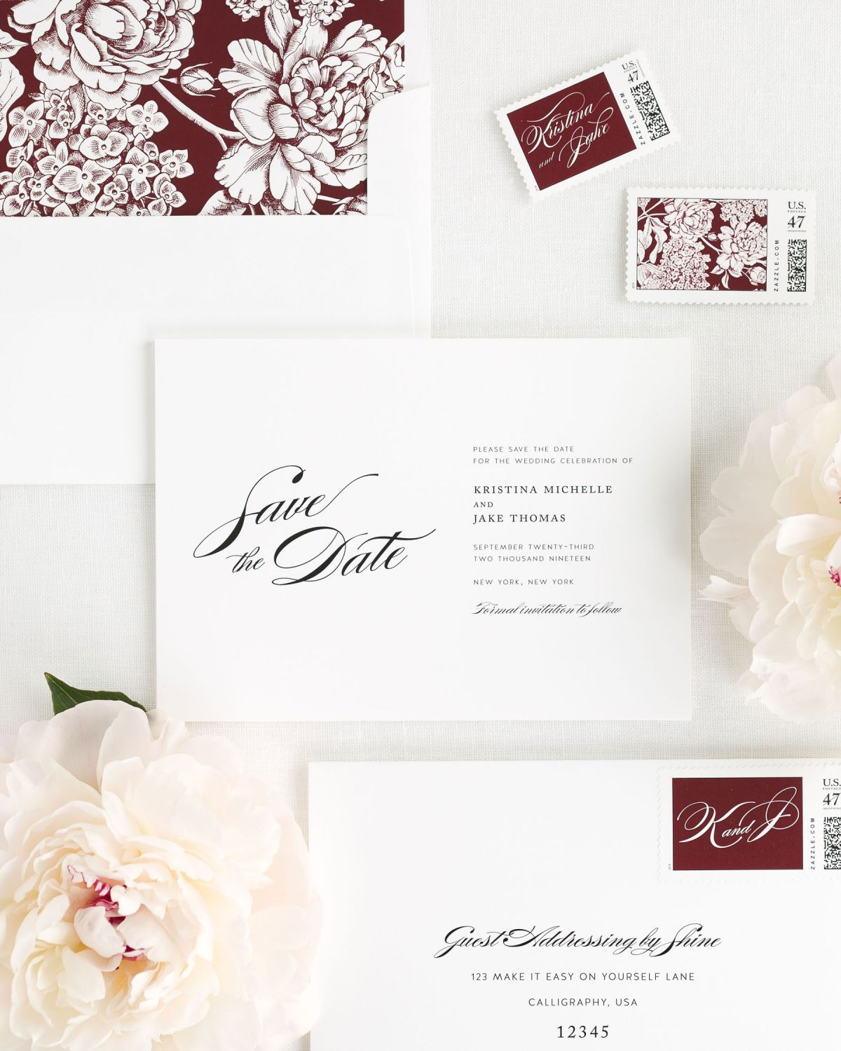 Save the Date with Cabernet Envelope Liner and Personalized Postage
