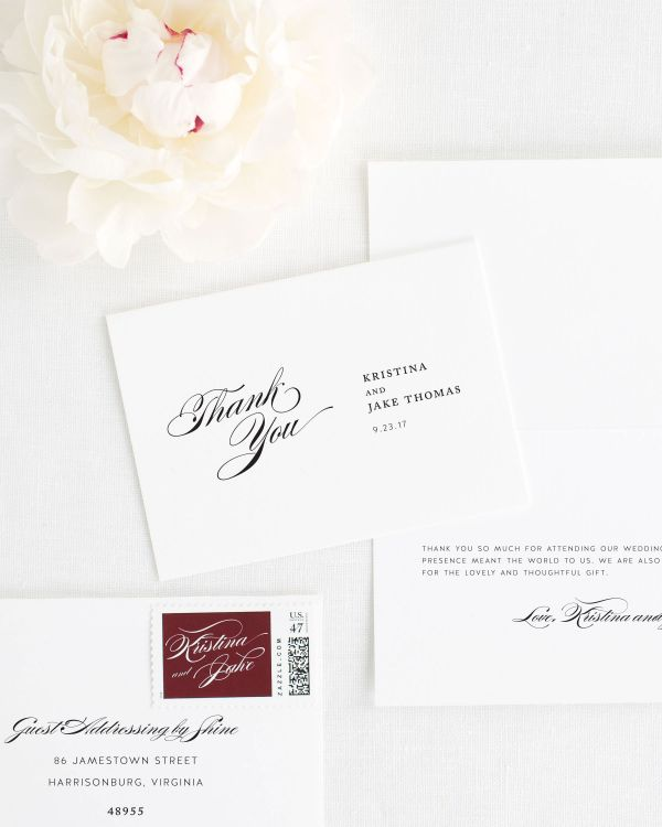 Romantic Glamour Thank You Cards