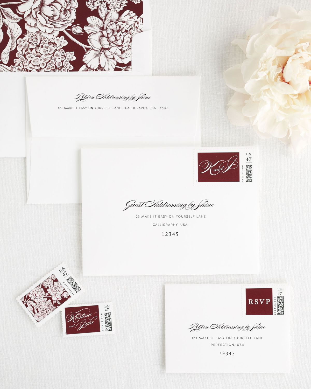Wedding Invitation Envelopes with Cabernet Personalized Postage and Floral Liner
