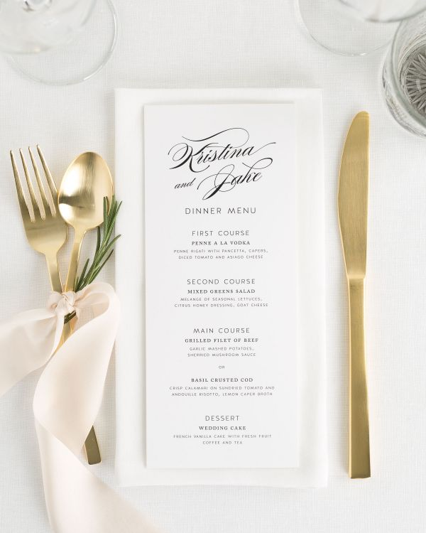 Romantic Glamour Wedding Menus
