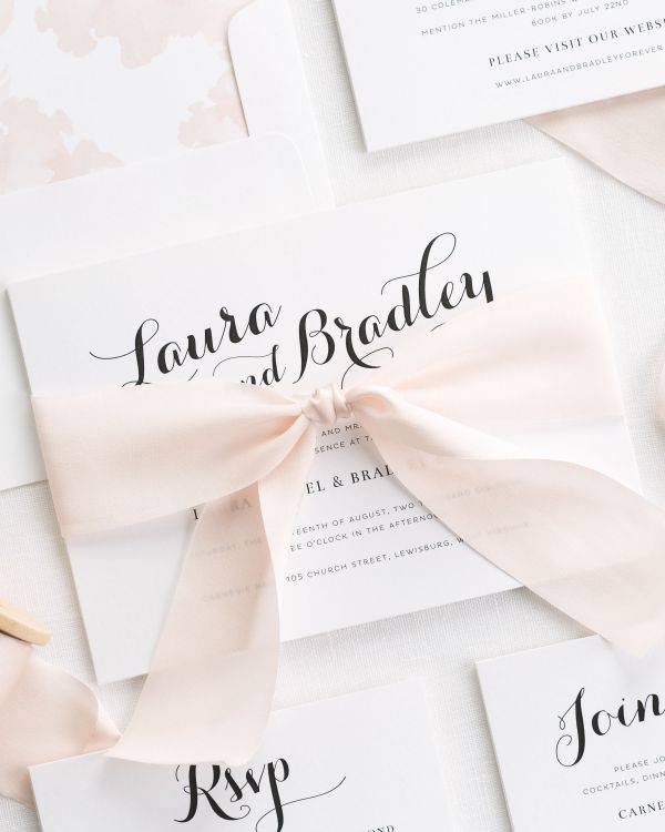 Romantic Script Ribbon Wedding Invitations