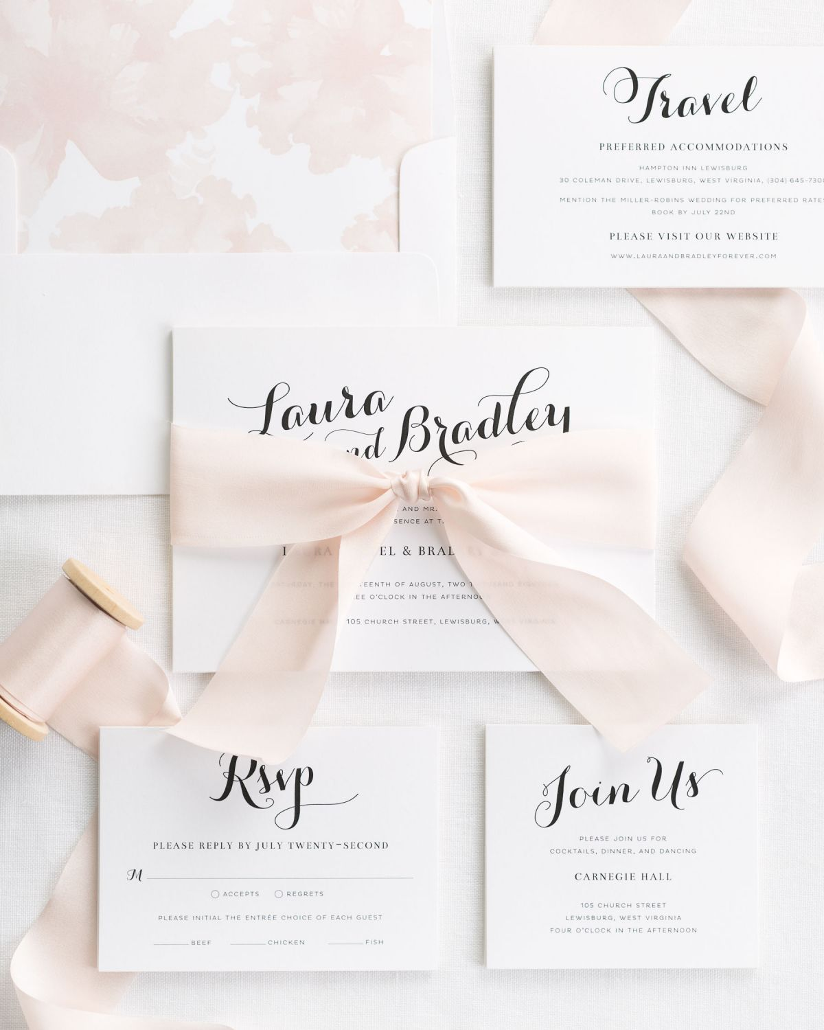 Complete Wedding Invitation Set with pale pink Ribbon and Enclosures