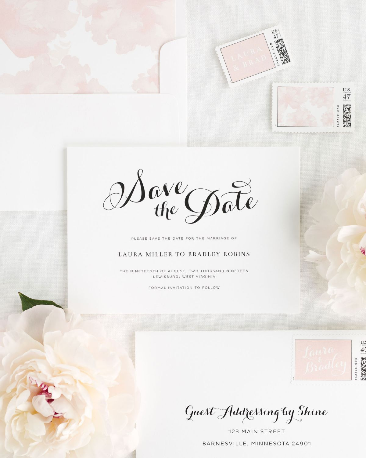Blush Pink Save the Dates with Custom Stamps