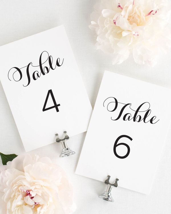 Romantic Script Table Numbers