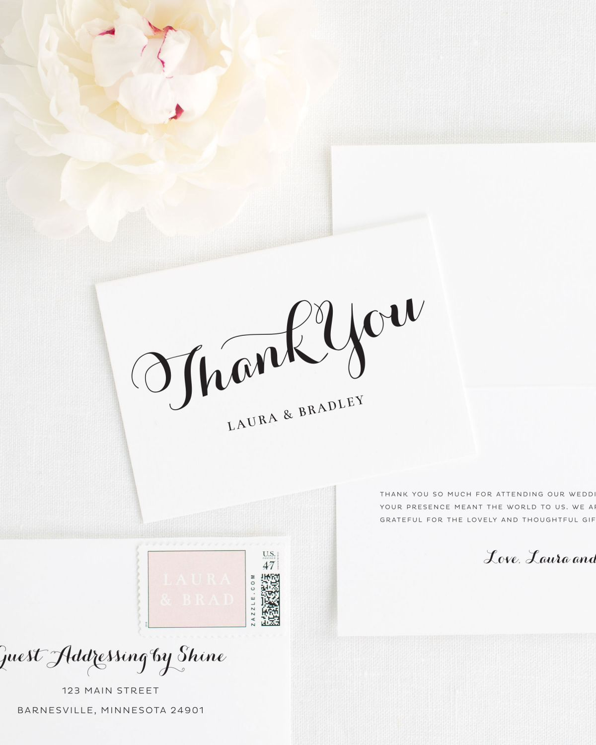 Romantic Script Thank You Cards for Weddings