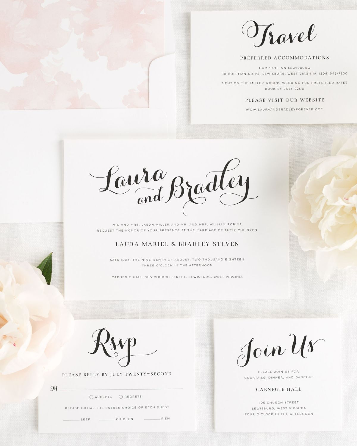 Romantic Blush Pink Wedding Invitations with a Watercolor Floral liner