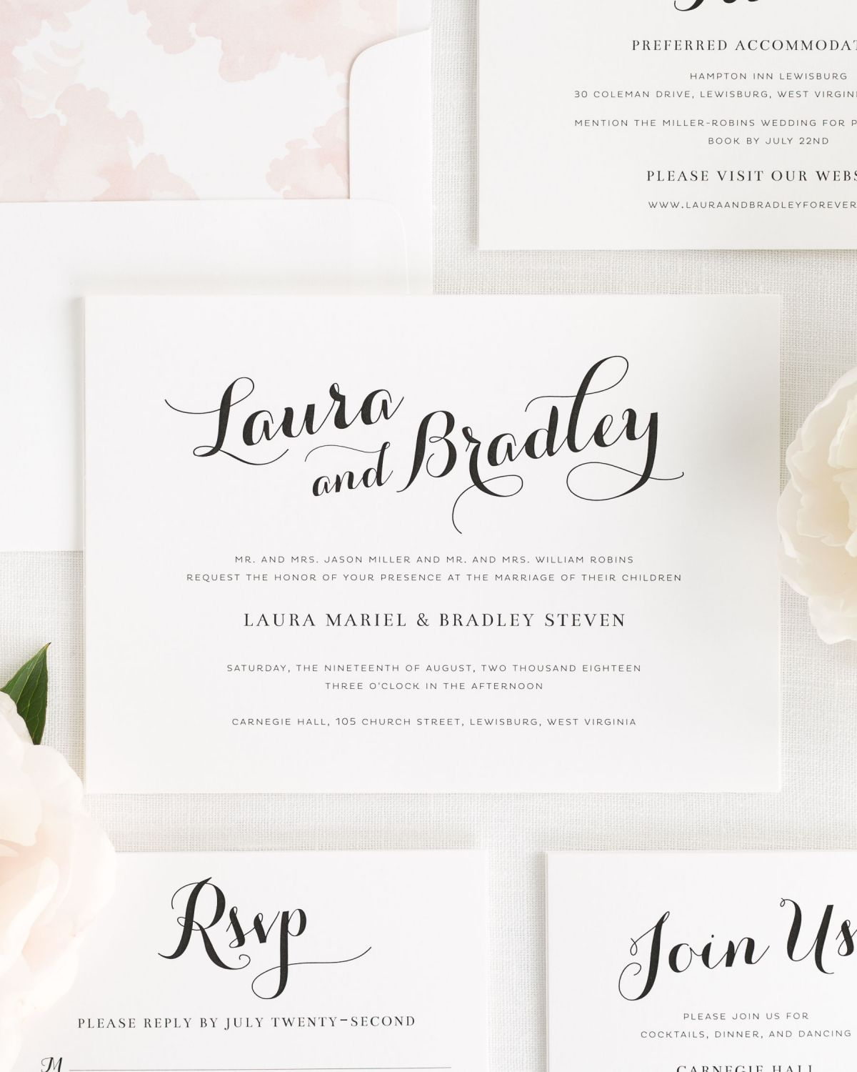 Romantic Script Wedding Invitations
