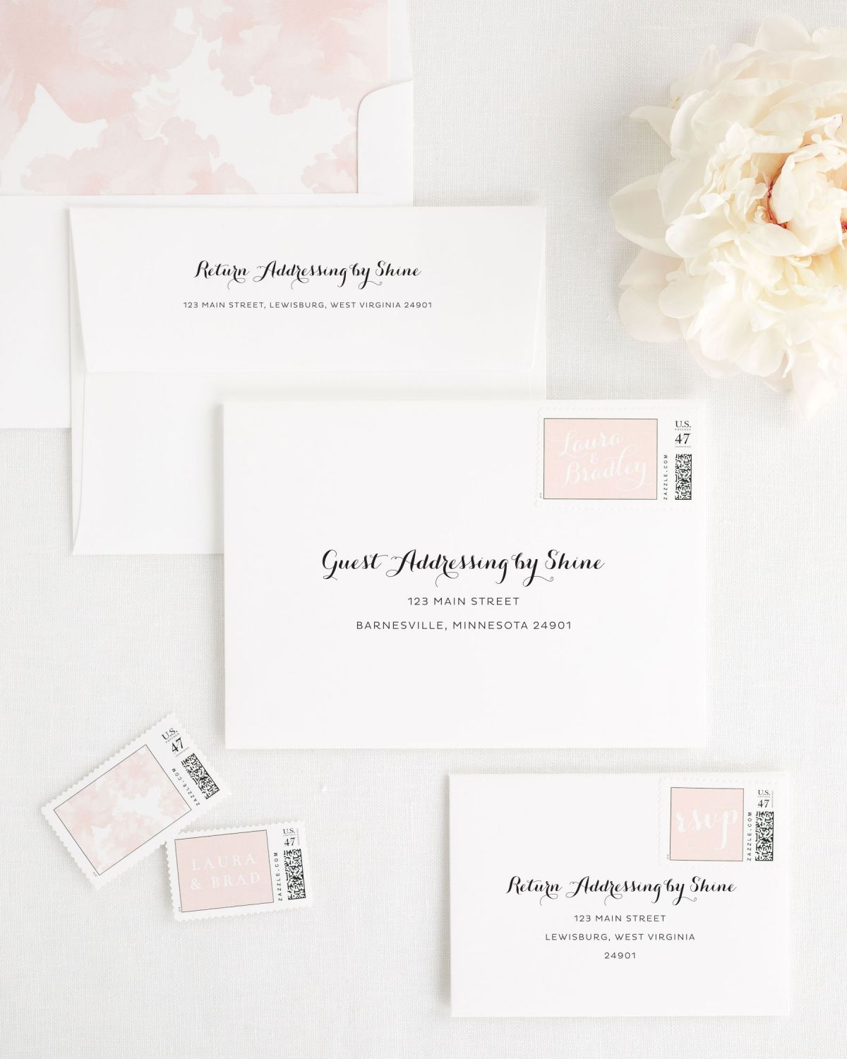 Wedding Invitation Envelopes with Peony Custom Stamps and Watercolor Peony Liner