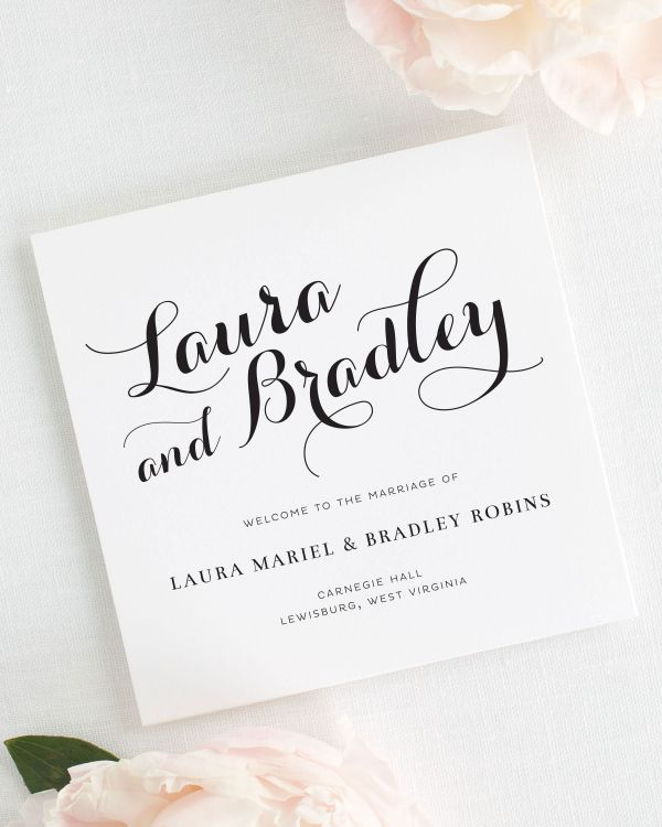 Romantic Script Wedding Programs