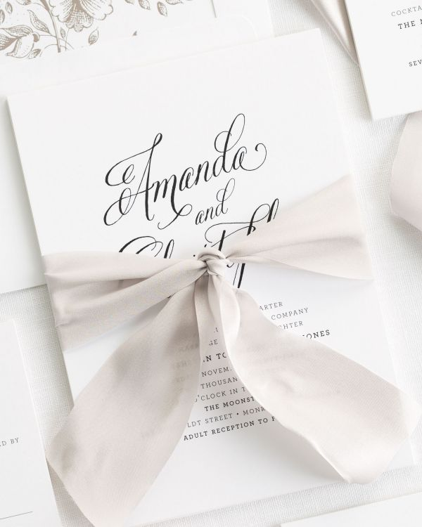 Rustic Modern Ribbon Wedding Invitations