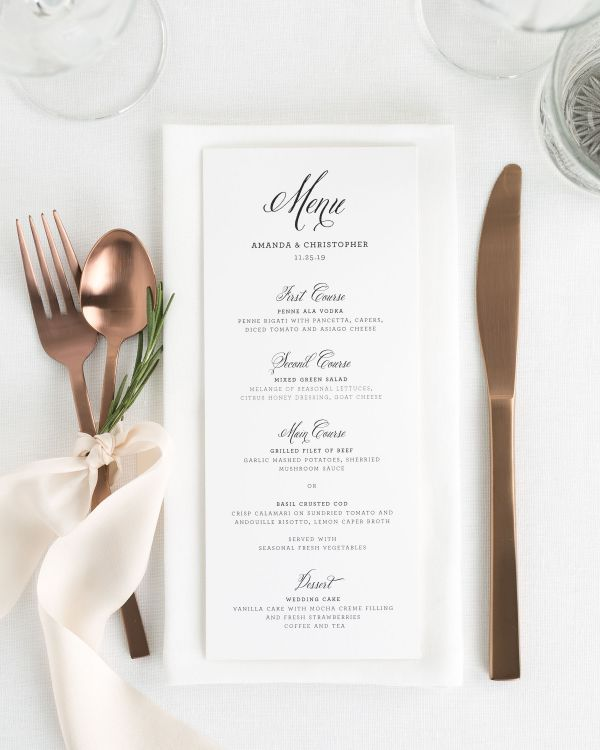 Rustic Modern Wedding Menus