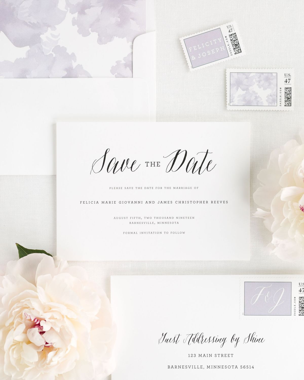 Save the Date with Lavander Envelope Liner and Custom Postage Stamps