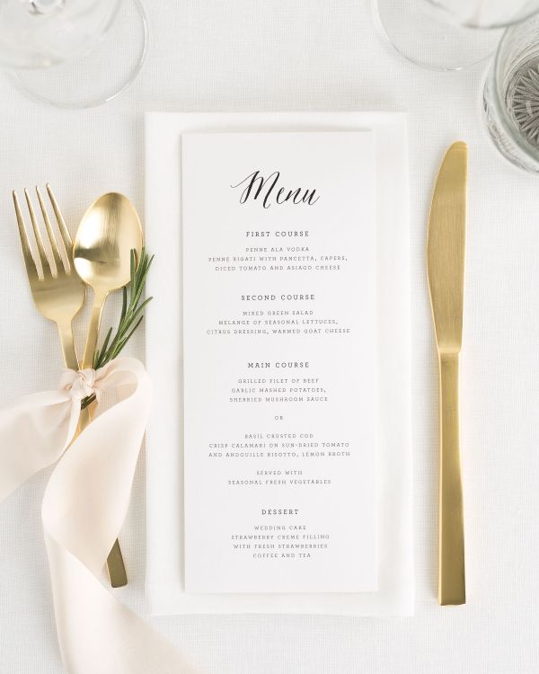 Rustic Romance Wedding Menus