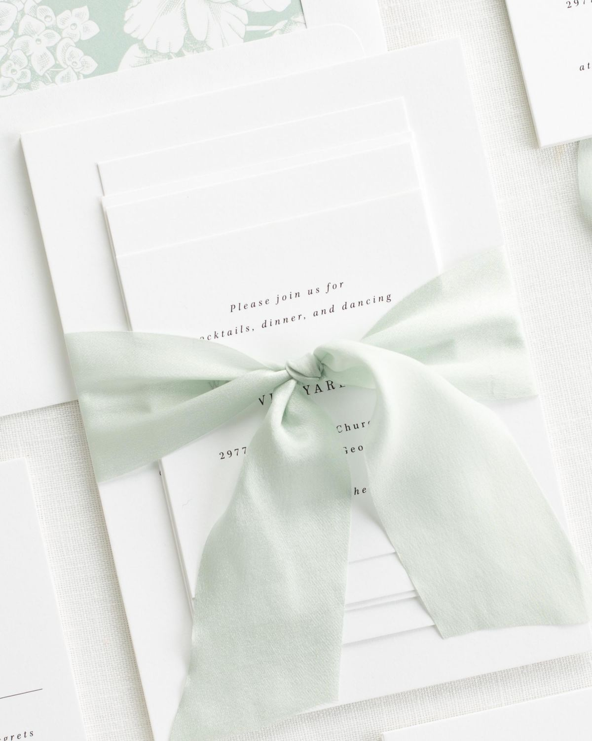 Complete Wedding Stationery Set with Pale Green Ribbon and Enclosures