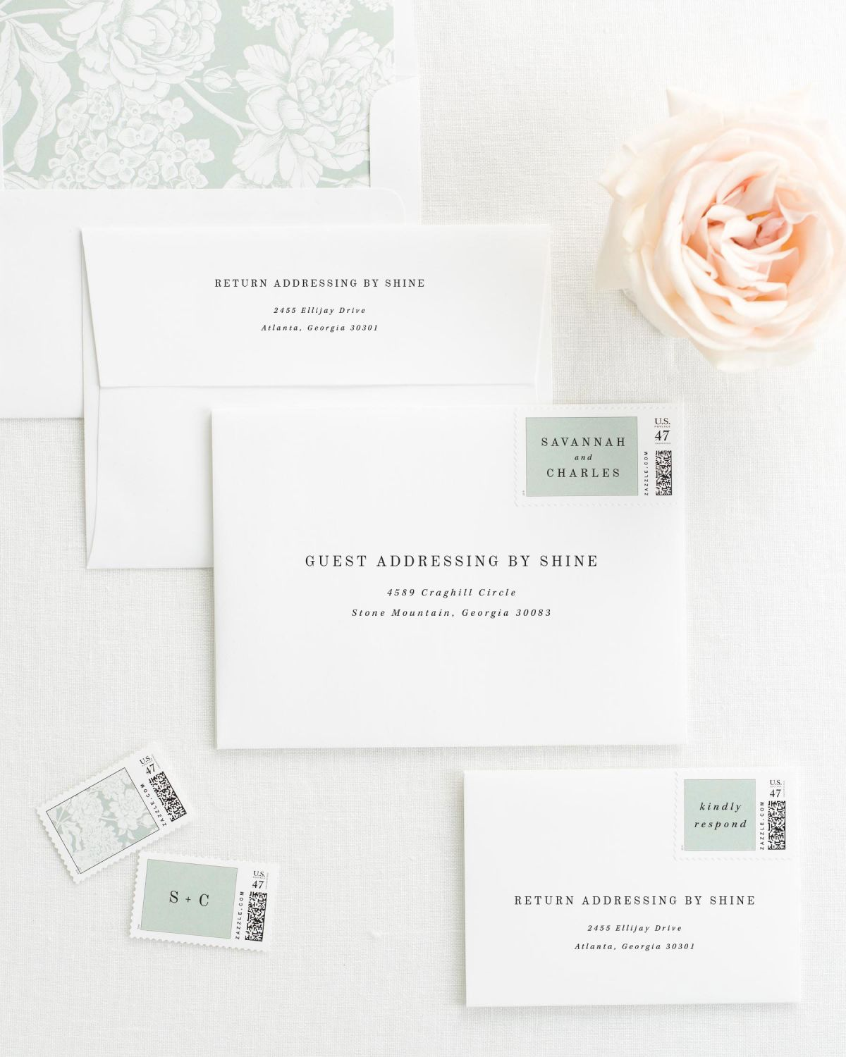 Wedding Invitation Envelopes with Pre-Printed Addresses and Matching Olive Leaf Custom Stamps