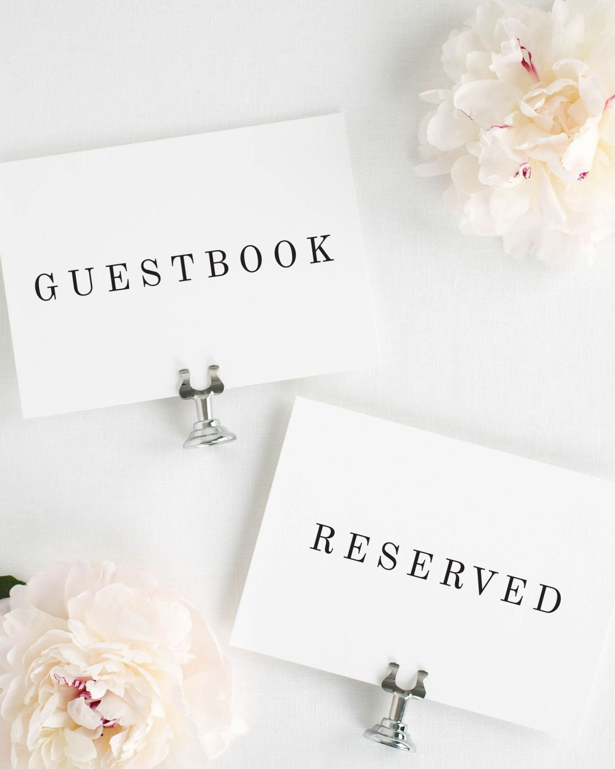 Guestbook and Reserved Signs