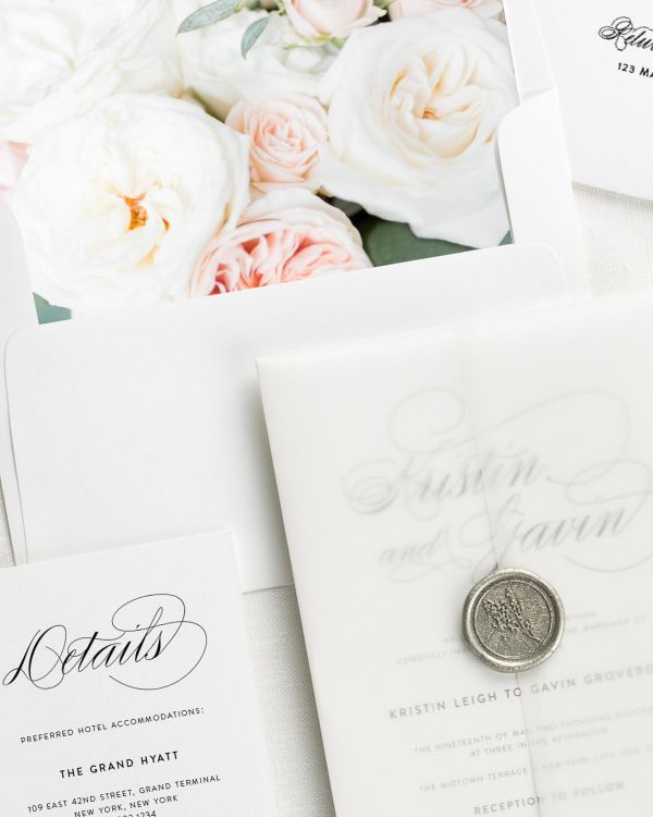 Script Elegance Floral Wedding Invitations