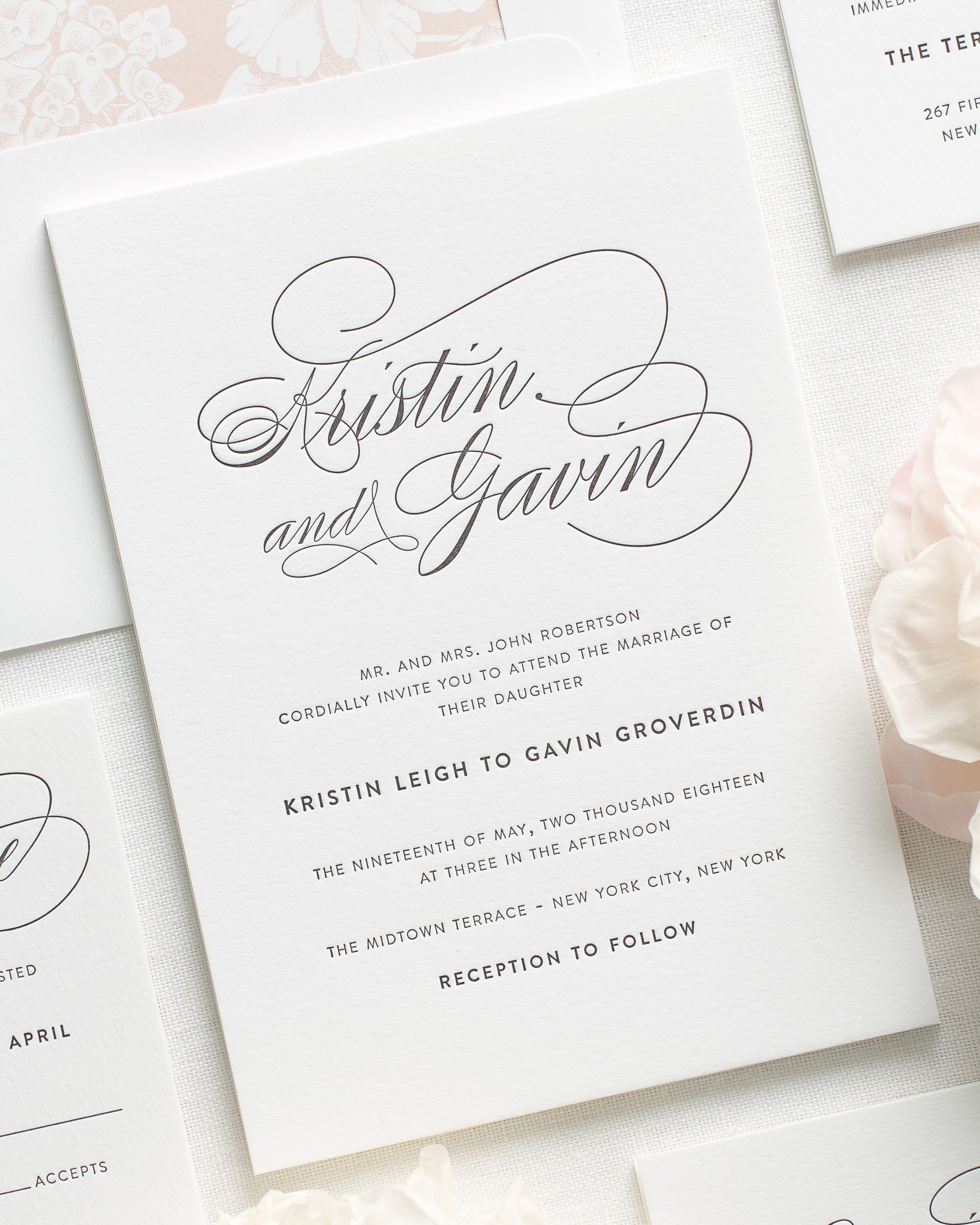Wedding Invitation Wording: Script Elegance Letterpress Wedding Invitations