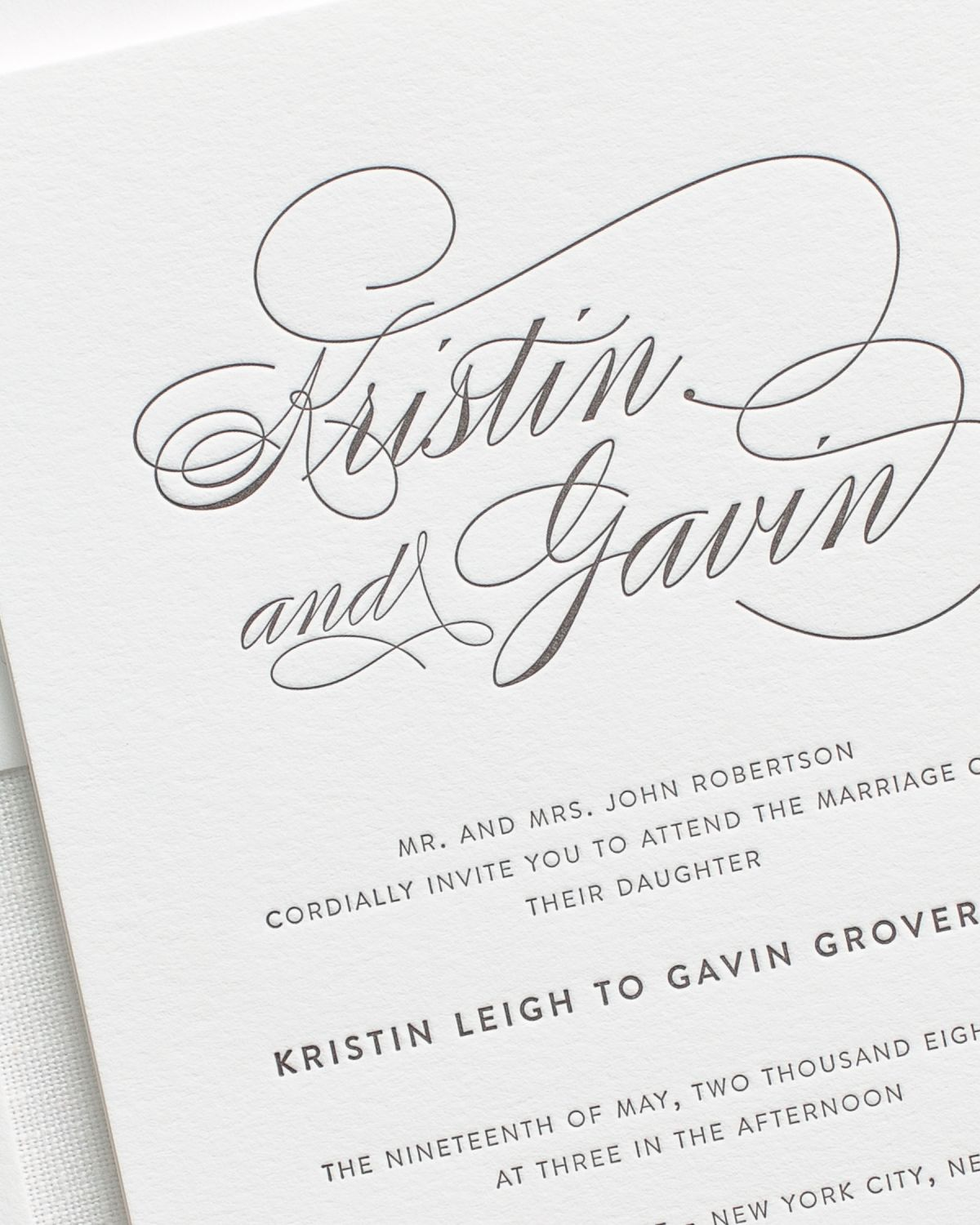 Letterpress Wedding Invitations with Big Names