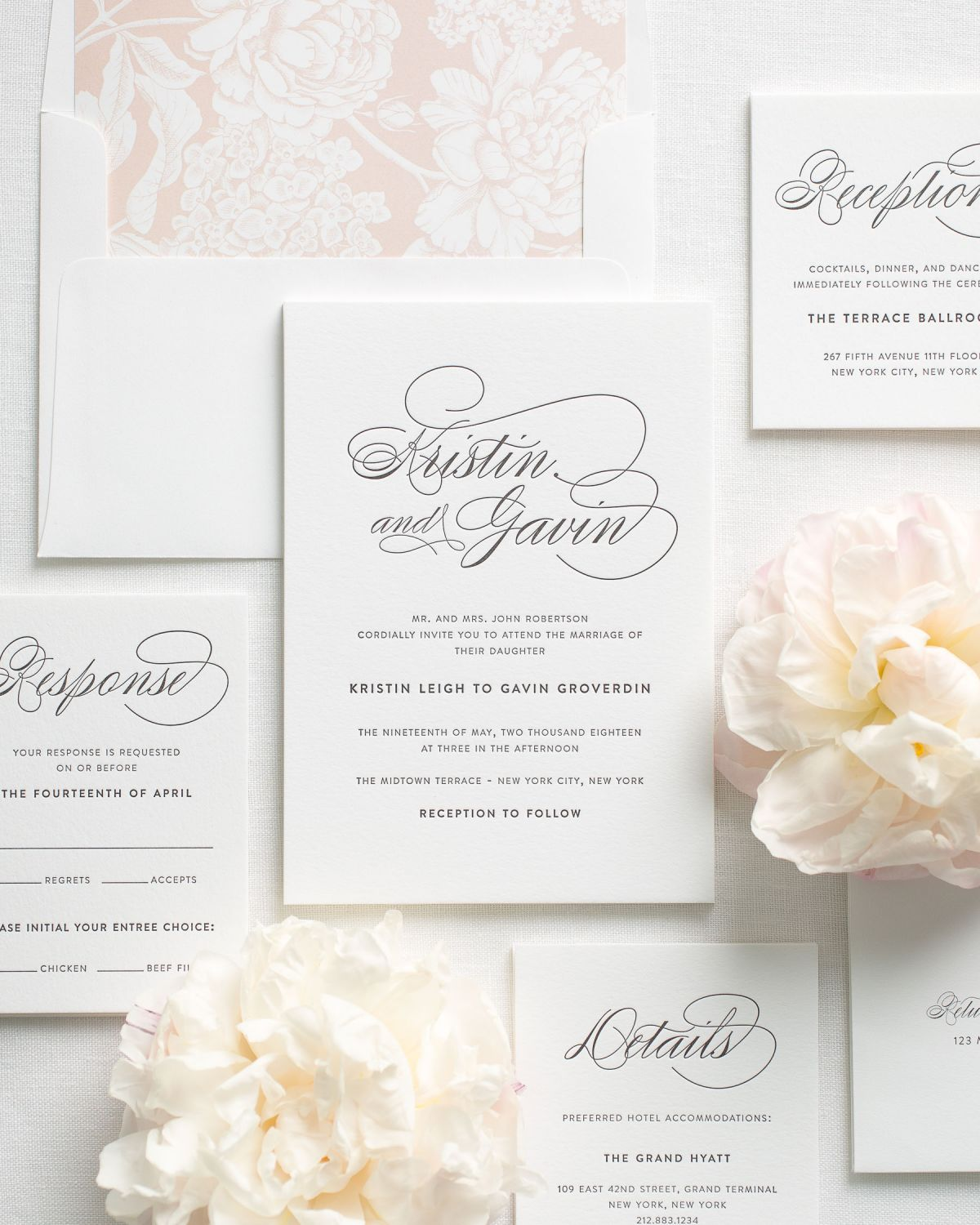 Classic Wedding Invitations with a blush floral envelope liner