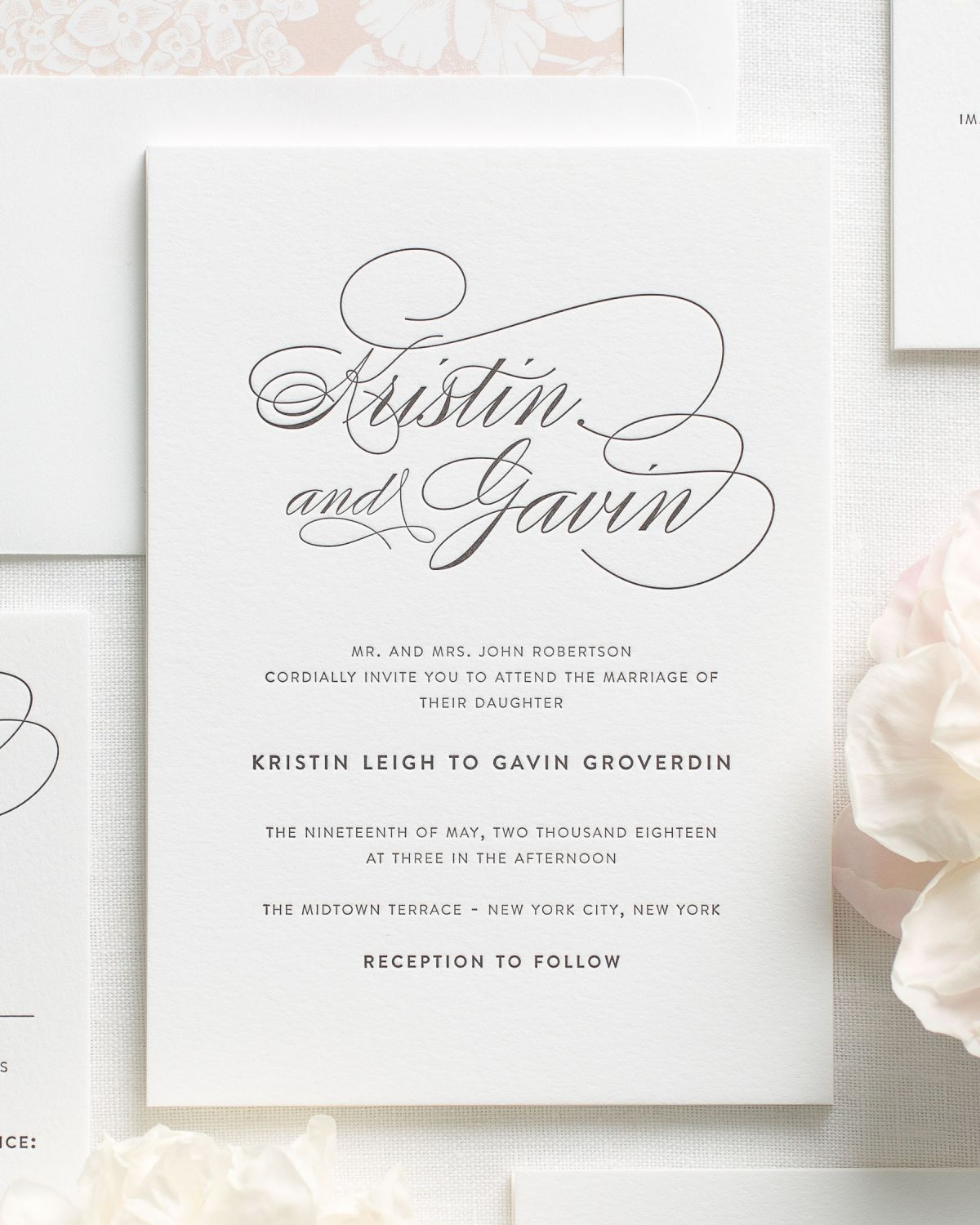 Script elegance letterpress wedding invitations for Letterpress wedding invitations manila philippines