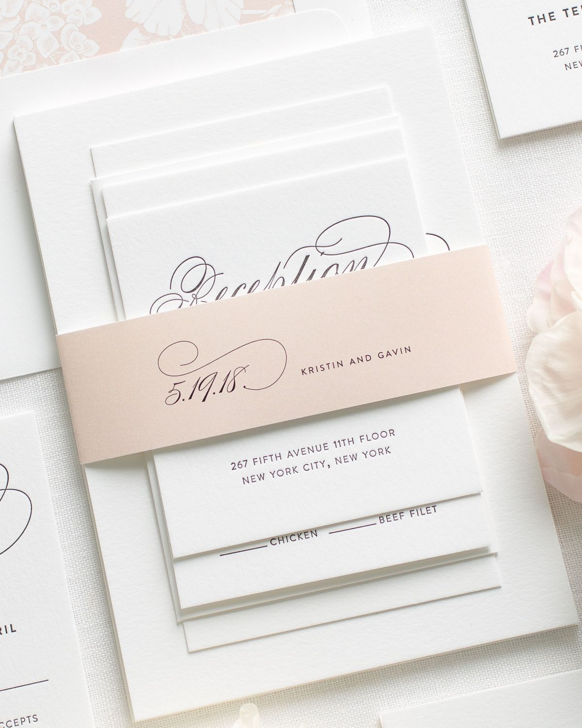 Blush Letterpress Wedding Invitations with large script names