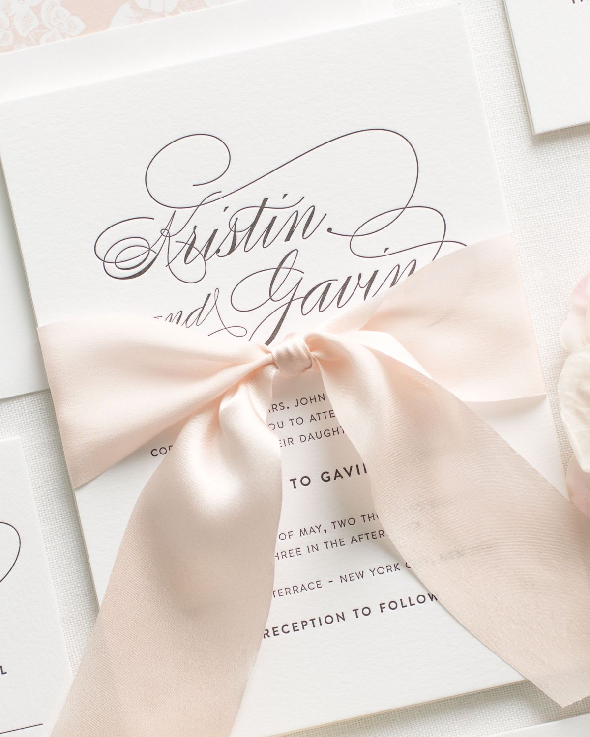 Simple Script Letterpress Invitations in blush with a floral envelope liner