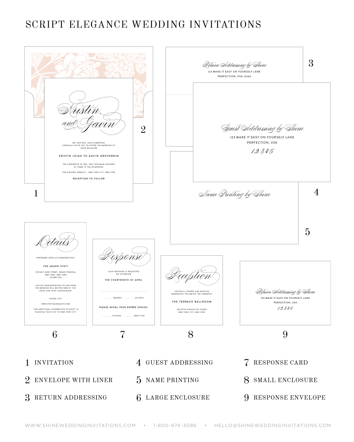 Wedding Invitation Pieces Chart