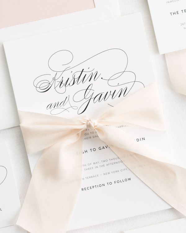 Script Elegance Ribbon Wedding Invitations